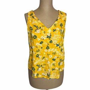 🛍 Old Navy Yellow Floral Sleeveless Blouse